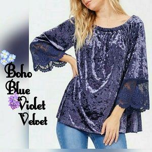 Tops - Boho On or Off Shoulder Bell Sleeve Velvet Top